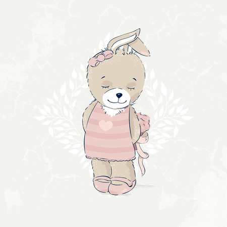 Cute rabbit illustration. This illustration is perfect for cards, greetings, decorations. Hare, balloon and ribbons. Illustration for children