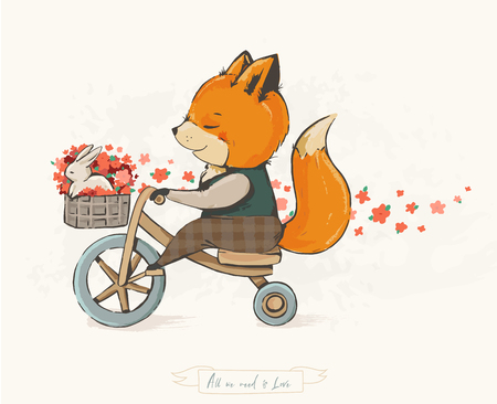 Funny fox on a bicycle with a hare in a basket and spring flowers. Good mood. Children s illustration