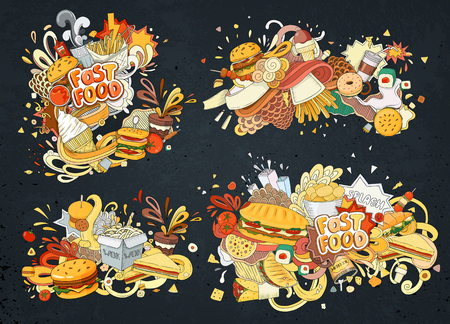 Set of Vector illustration Cartoon style. Fast food objects. This collection include hamburger, snack, burger, french fries, barbecue, drinks and other items. Illustration
