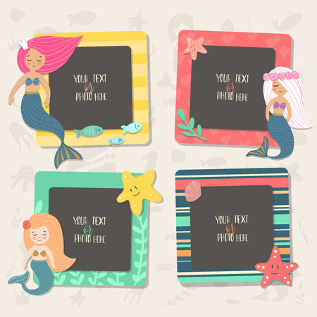 Children illustration. These photo frames you can use for kids picture, funny photos, card and memories. Scrapbook design concept. Insert your picture. Vector template frames. Ilustración de vector