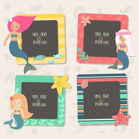 Ilustración infantil. Estos marcos de fotos se pueden utilizar para fotos de niños, fotos divertidas, tarjetas y recuerdos. Concepto de diseño de bloc de notas. Inserta tu imagen. Marcos de plantilla de vector. Ilustración de vector