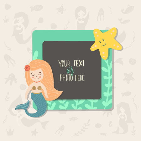 Children illustration. This photo frame you can use for kids picture, funny photos, card and memories. Scrapbook design concept. Insert your picture. Vector template frames. 矢量图像