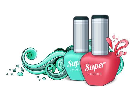 Cosmetics for women. Nail polish. Vector illustration Abstraction