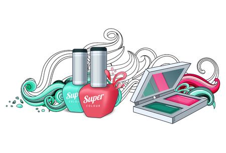 Cosmetics for women. Nail polish, eyeshadow Vector illustration