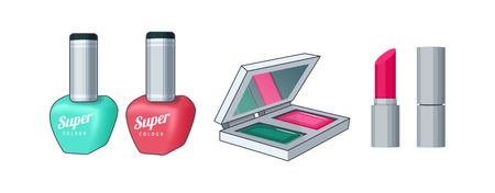 Cosmetics for women. Lipstick, nail polish, eyeshadow Vector illustration