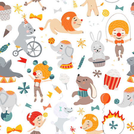 Illustrations of funny circus characters. Presentation, show and magic. Template vector graphics. Seamless pattern.