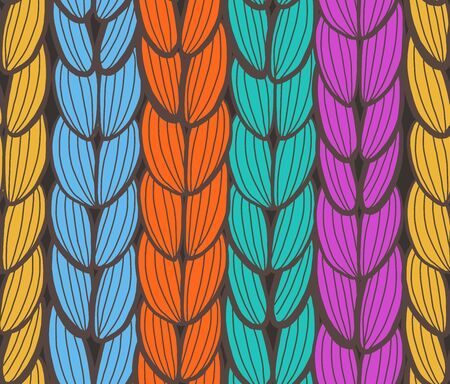 Seamless pattern of pigtails. Hair or knit texture. Vector illustrator.