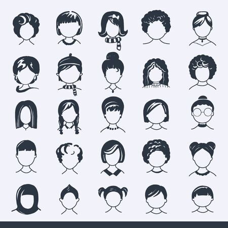 Set of avatar or user icons. Vector illustration. Silhouettes man and woman. Adult, youth and child heads. Business people. Colleagues, hiefs and employees. Ilustração Vetorial