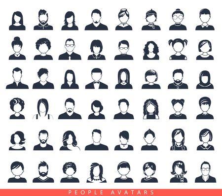 Conjunto de iconos de avatar o usuario. Ilustración de vector. Siluetas de hombre y mujer. Jefes de adultos, jóvenes y niños. Gente de negocios. Compañeros, jefes y empleados.
