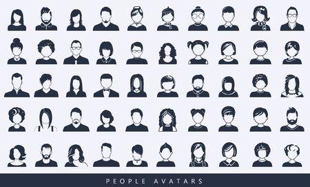 Satz von Avatar- oder Benutzersymbolen. Vektor-Illustration. Silhouetten von Mann und Frau. Erwachsenen-, Jugend- und Kinderköpfe. Geschäftsleute. Kollegen, Hiefs und Mitarbeiter.