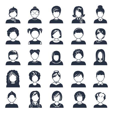 Zestaw ikon awatara lub użytkownika. Ilustracja wektorowa. Sylwetki mężczyzny i kobiety. Głowy dorosłych, młodzieży i dzieci. Ludzie biznesu. Koledzy, przełożeni i pracownicy.