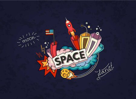 Cartoon vector illustration of space. Moon, planet, rocket, earth, cosmonaut, comet, universe Classification milky way Hand drawn Abstract Comics