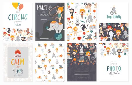 Set of circus banners. Invitation, banner, card. Funny and kids vector illustration. Graphic cartoon design.