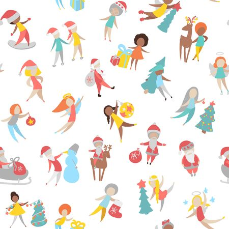 Flat Icons of people with different characters. Merry christmas or happy new year. Illustration