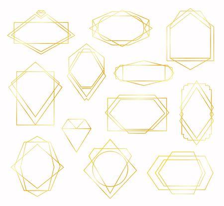 Set of gold lines polygonal frames. Vector illustration. Minimalism.