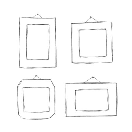 Hand-drawn Art Styles. Decorative vector template frames. Those photo frames you can use for kids picture, funny photos, card and memories. Scrapbook design concept. Insert your picture. Illustration
