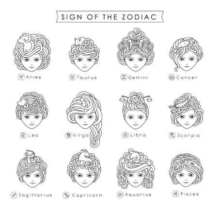 Vector illustration of the girls with beautiful hair. Zodiac sign, prediction, future, astrology. Fortune telling and magic in the universe. Illustration