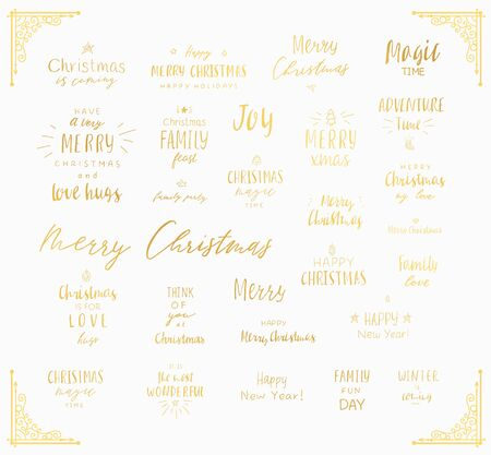 Lettering merry christmas and happy new year. Hand drawn vector illustration. Text templates.