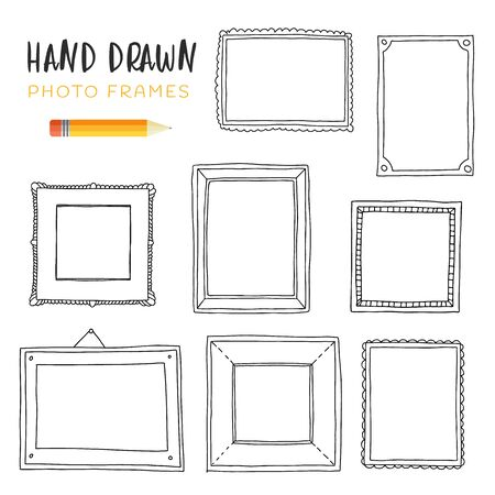 Hand-drawn vector illustrations. Vector template frames. Those photo frames you can use for kids picture, card and memories. Scrapbook design concept. Square, rectangular, round and oval frames.