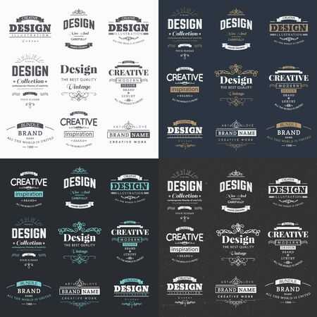 Collection of vintage patterns. Flourishes calligraphic ornaments and frames. Retro and modern styles of design elements, signs Foto de archivo - 135500430