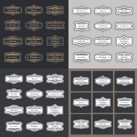 Collection of vintage patterns. Flourishes calligraphic ornaments and frames. Retro and modern styles of design elements, signs Foto de archivo - 135500912