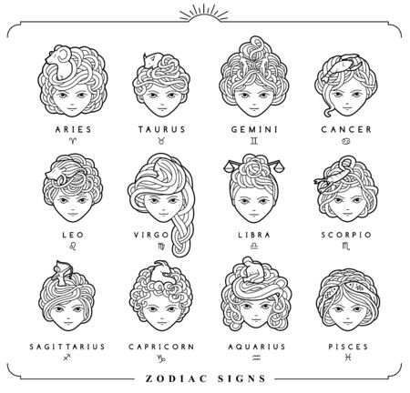 Vector illustration of the girls with beautiful hair. Zodiac sign, prediction, future, astrology. Fortune telling and magic in the universe. 向量圖像
