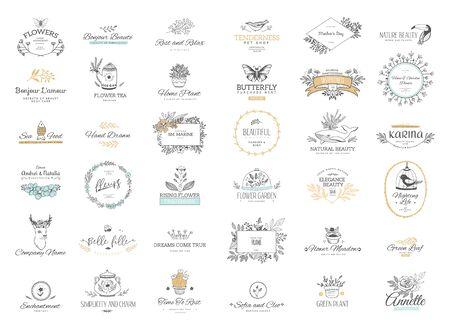 Conjunto de adornos y marcos caligráficos de florituras. Estilo retro y moderno de elementos de diseño, letreros y logotipos. Plantilla de vector. Patrones de colección Logos