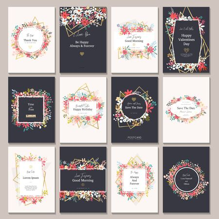 Beautiful banners with flowers and gold geometric elements. Frame templates. Vector illustration.