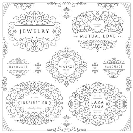 Collection of templates. Flourishes calligraphic ornaments and frames. Good for logos, books, jewelry, badges, postcard, banners, signes Vector illustration Logo