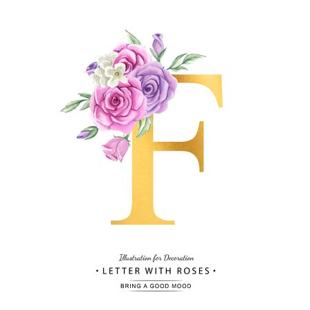 Watercolor letter with flowers and gold background. Font with roses.