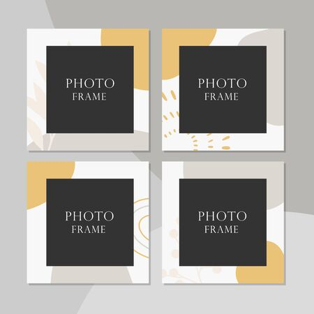 Beautiful vector photo frame on background.