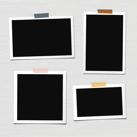 Set of vector photo frames isolated on white background. Old and vintage paper. Album for pictures and memory. Photograph.
