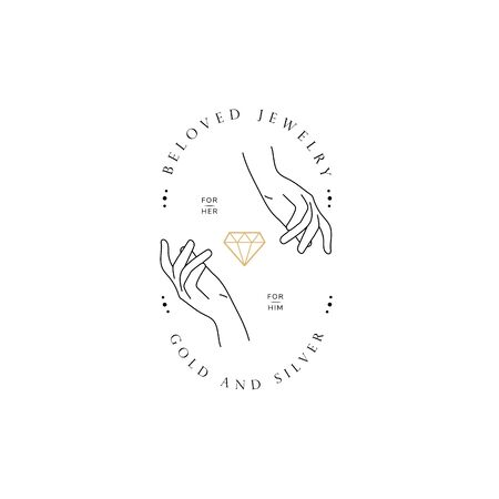 Hand line logo gesture.  イラスト・ベクター素材