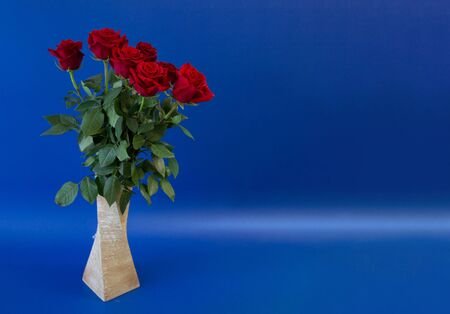 postcard template, copy space with vase with flowers roses on a blue background