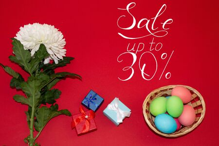 Holiday card, Easter banner with text - a discount of 30 per cent