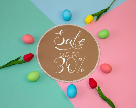 Holiday card, Easter banner with text - a discount of 30 per cent Stockfoto