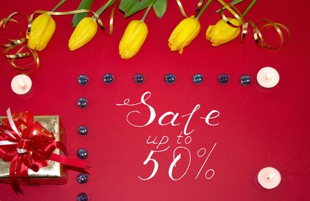 Card Mother Day with text about a discount of 50 per cent Stockfoto