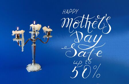 Card, banner, pattern for a discount of 50 percent for mother day Banco de Imagens