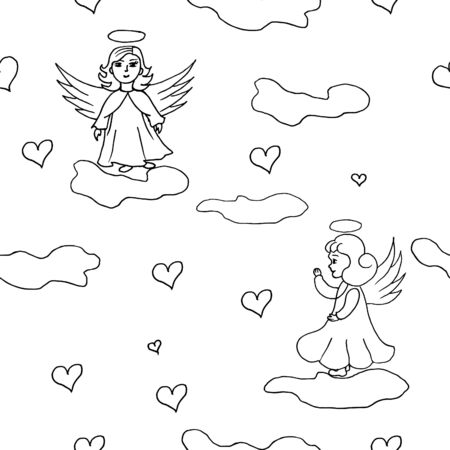 seamless pattern with girl angel vector Stock illustration of a design element for print