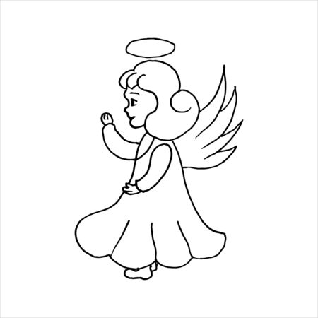 isolated on white background picture of an angel girl, outline, vector, Stock illustration of a design element for print