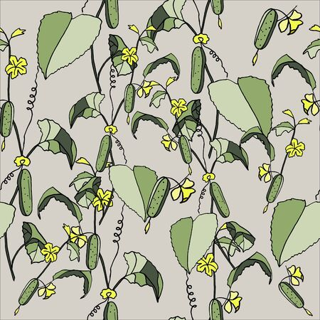 seamless pattern cucumber on a branch, hand-drawing, doodle style Иллюстрация