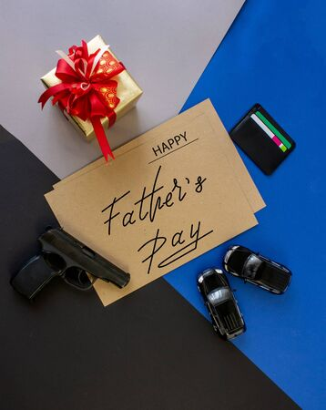 greeting card, online banner on Father's Day with an inscription - the father a happy day