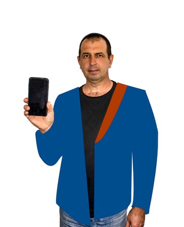 trendy style photo with elements of the drawing of a man with phone