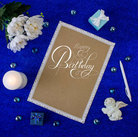 postcard or Internet banner with a birthday greeting Stockfoto