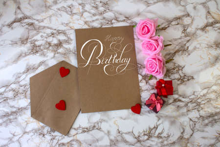 postcard or Internet banner with a birthday greeting, with the inscription - happy birthday