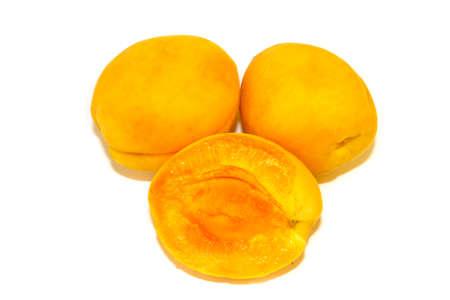 isolated on white background apricots close-up Reklamní fotografie