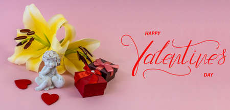 Happy Valentine's day! Card, online banner, greeting card, Flat lay on Valentine's Day, on a pink background