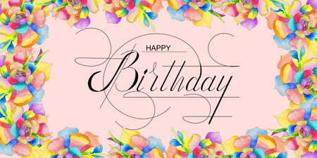 postcard, Internet banner, flat lay with a birthday greeting, with the inscription - happy birthday