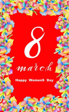 International Women's Day March 8! Flat Lay, banner, greeting card with flowers from March 8.