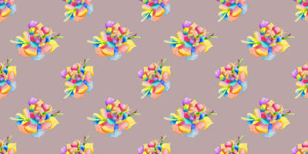 Seamless pattern with watercolor flower multicolored
